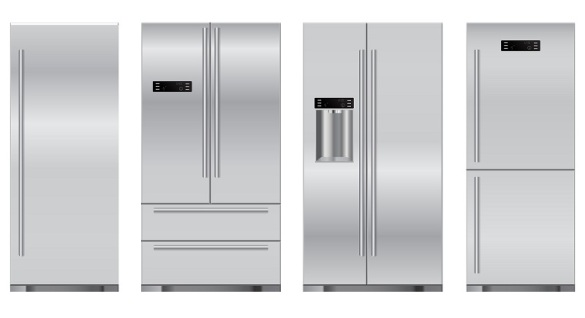 Set refrigerators: side by side one door two doors. Vector Illustration isolated on white background